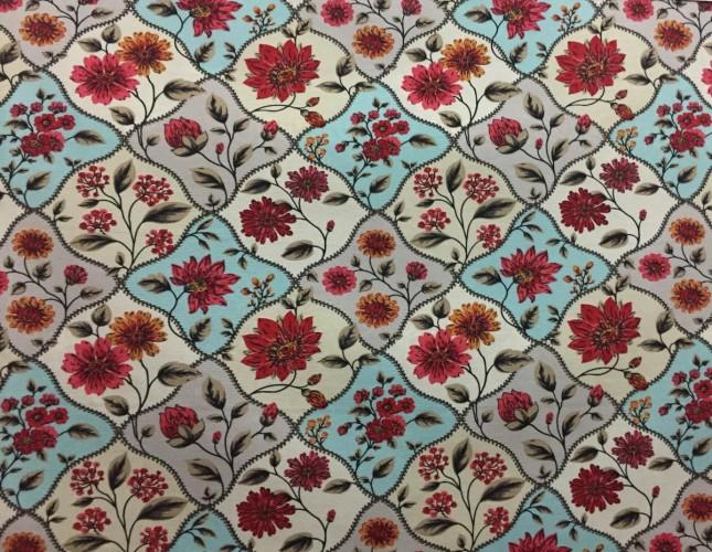 Tecido Belize Floral Azul/Vermelho