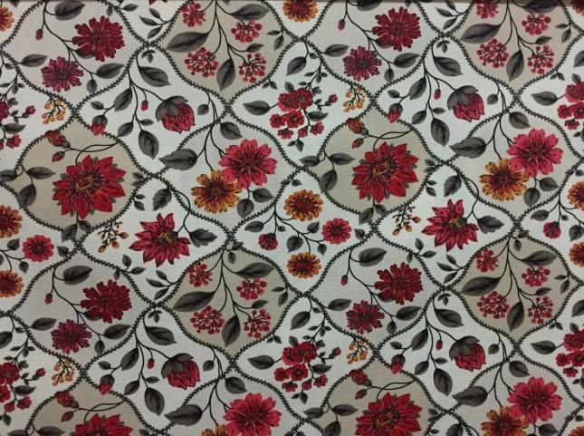Tecido Belize Floral Vermelho