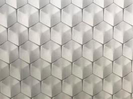 Imagem - Tecido WaterHavana Estampa Digital Cubos Efeito 3 D Branco cód: 205771
