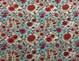 Imagem - Tecido Belize Floral Azul/Vermelho cód: 205034