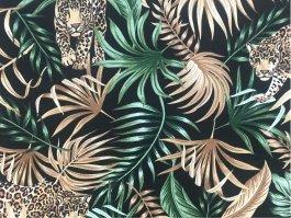 Imagem - Tecido Belize Folhas Fundo Preto cód: 205695