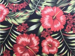 Imagem - Tecido WaterHavana Estampa Digital Hibisco Vermelho cód: 205748