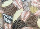 Tecido Belize Folhas fundo bege escuro