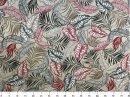 Tecido Belize Folhas fundo Marfim 2