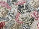 Tecido Belize Folhas fundo Marfim