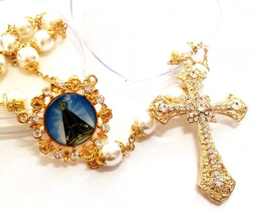 Terço Buquê de Noiva Dourado com foto personalizavél