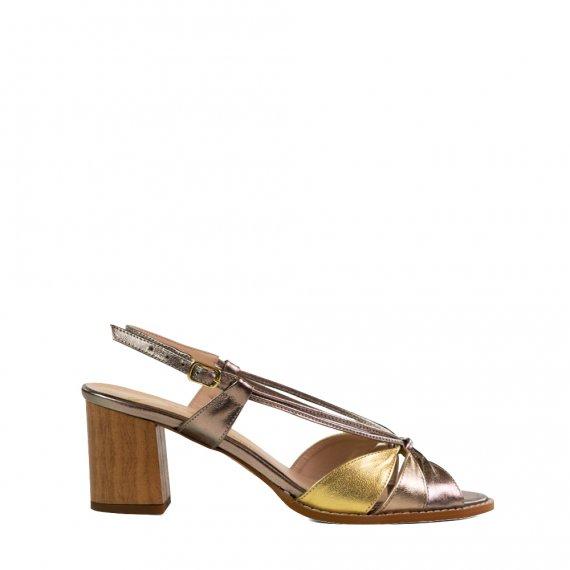 Sandália Premium em Couro Metalic/Glace/Dourado