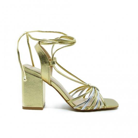 Sandália Em Couro Metalizado Ouro Gold/Silver