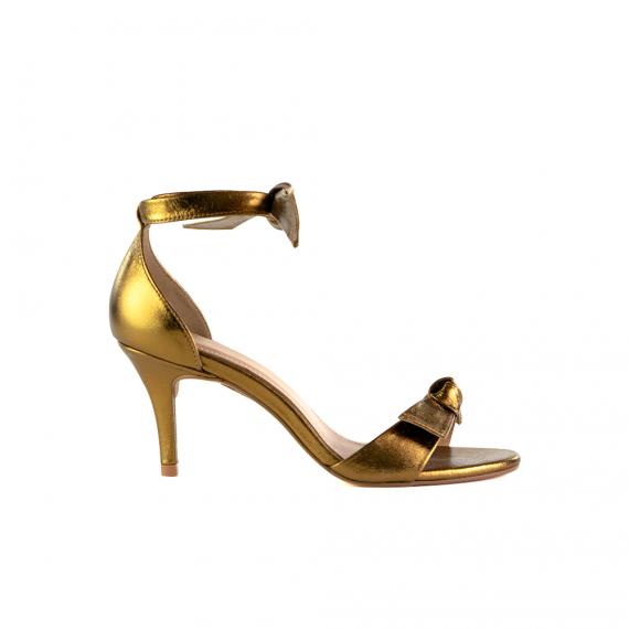 Sandália Em Couro Metalizado Salto Médio Bronze