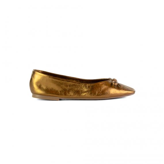 Sapatilha Em Couro Metalizado Bronze