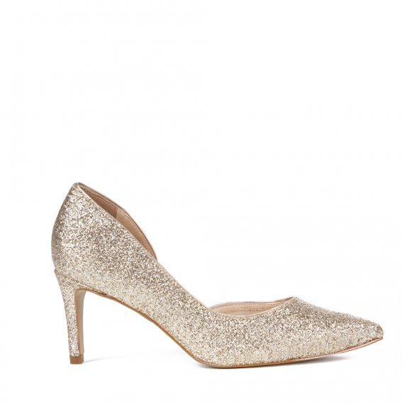 Scarpin Em Glitter Recorte Ouro