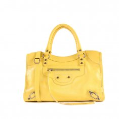 Imagem - Bolsa em Couro Shopper Amarelo