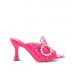 Imagem - Mule em Couro Croco Com Pedra Salto Médio Pink