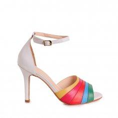Imagem - Sandália em Couro Salto Alto Branco/Multicolor