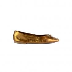 Imagem - Sapatilha Em Couro Metalizado Bronze
