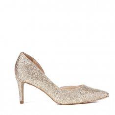 Imagem - Scarpin Em Glitter Recorte Ouro