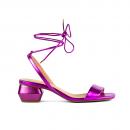 Sandália Em Couro Metalizado Pink Salto Baixo