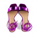 Sandália Em Couro Metalizado Pink Salto Baixo 2