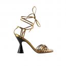 Sandália Em Couro Metalizado Salto Alto Bronze