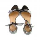 Sandália Em Couro Metalizado Salto Médio Prata Velho 2