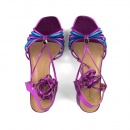 Sandália Metalizada Salto Médio Pink 2
