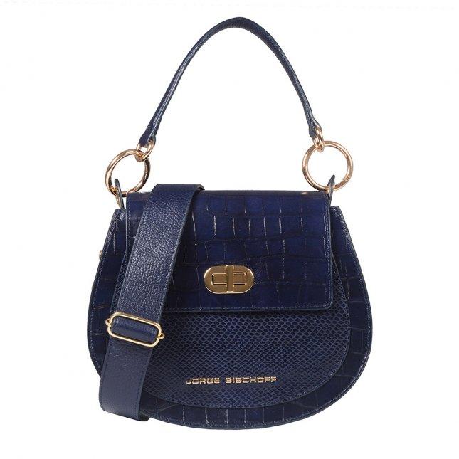Bolsa Estruturada Azul Marinho em Couro I20
