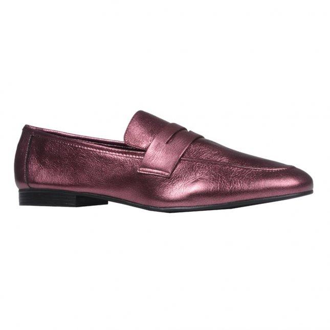 Loafer Couro Metalizado Vinho V21