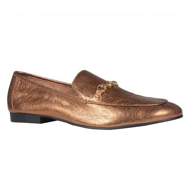 Loafer Couro Metalizado Cobre I20