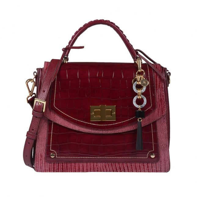 Bolsa Estruturada Couro Vinho com Bag Charm I20