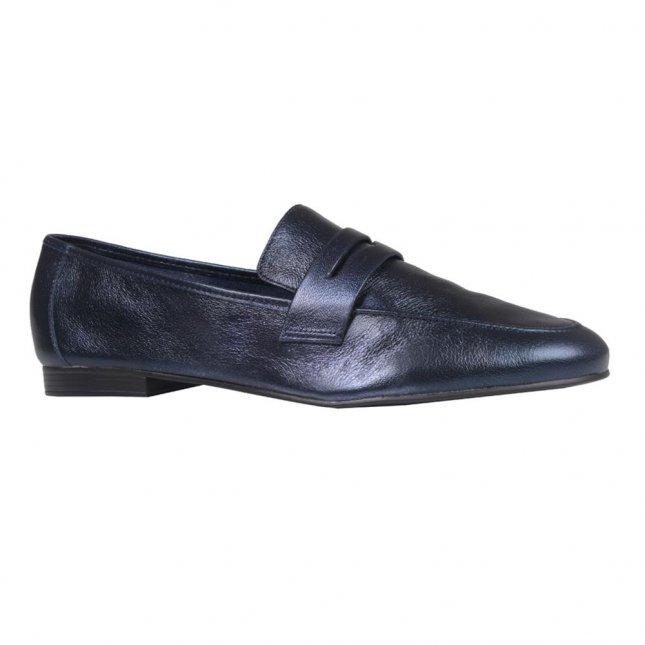 Loafer Couro Metalizado Marinho V21