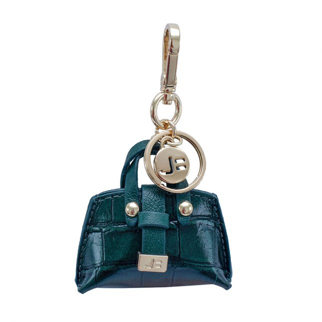Bag Charm Bolsinha Couro Croco Verde I20
