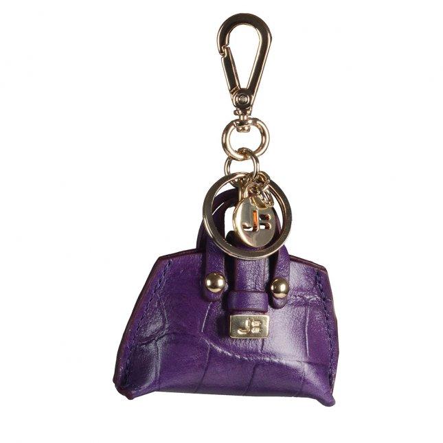 Bag Charm Bolsinha Couro Croco Roxo I20
