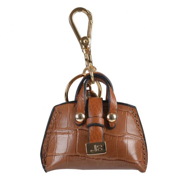 Bag Charm Bolsinha Couro Croco Caramelo I20