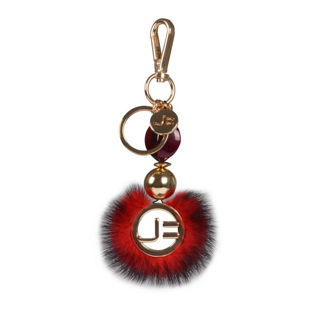 Bag Charm Mandala Plumas Vermelho I21
