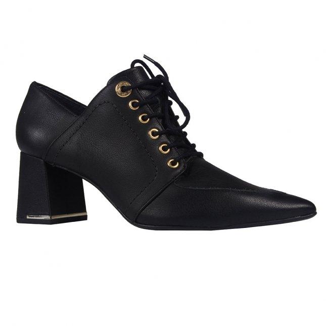 Ankle Boot Couro Preta com Amarração I20