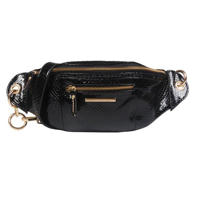 Belt Bag em Couro Verniz Snake Preta I21