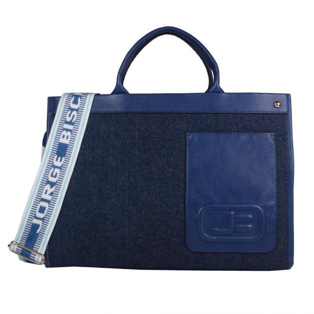 Bolsa Grande Azul Jeans com Alça Gorgorão V21