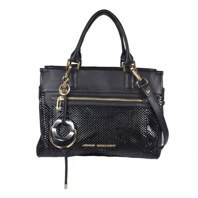 Bolsa Média Preta com Bag Charm V21