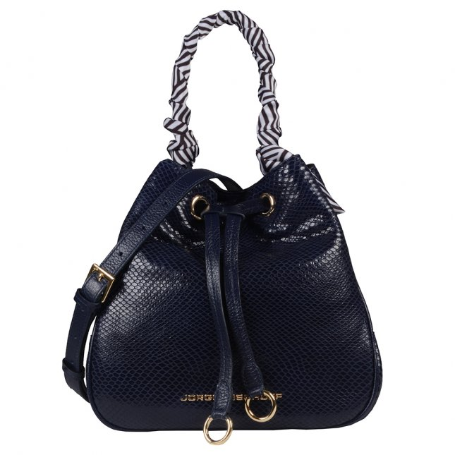 Bolsa Saco Couro Azul Marinho