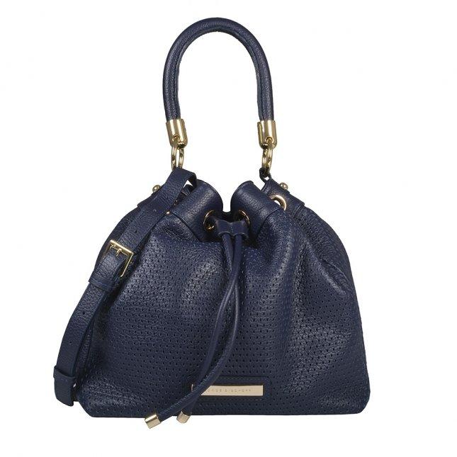 Bolsa Saco em Couro Texturizado Azul Marinho