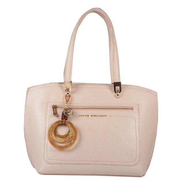 Bolsa Sacola Couro Creme com Bag Charm V21