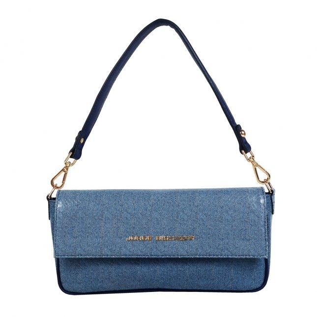 Bolsa Baguete Couro Jeans Azul Náutico V20