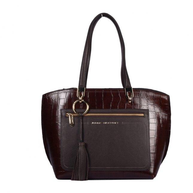 Bolsa Sacola em Couro Marrom com Bag Charm