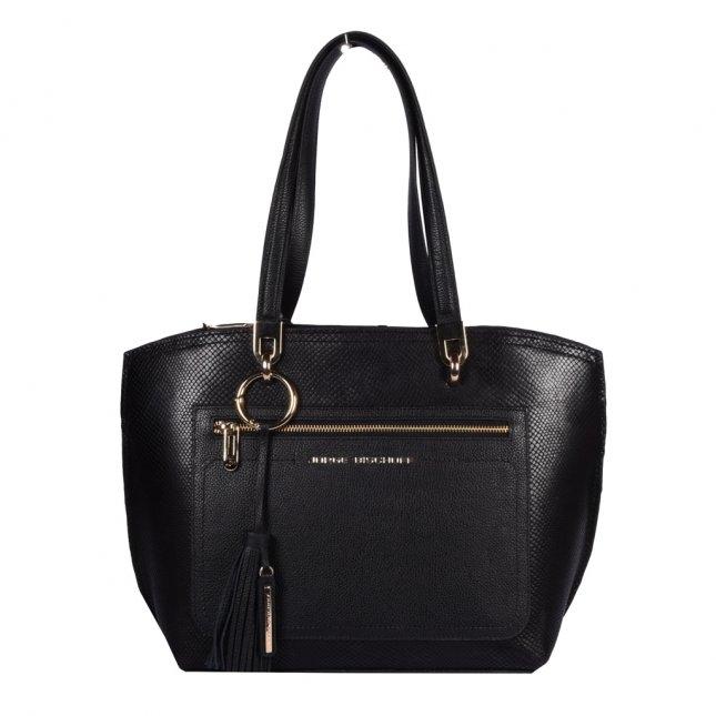 Bolsa Sacola em Couro Preta com Bag Charm