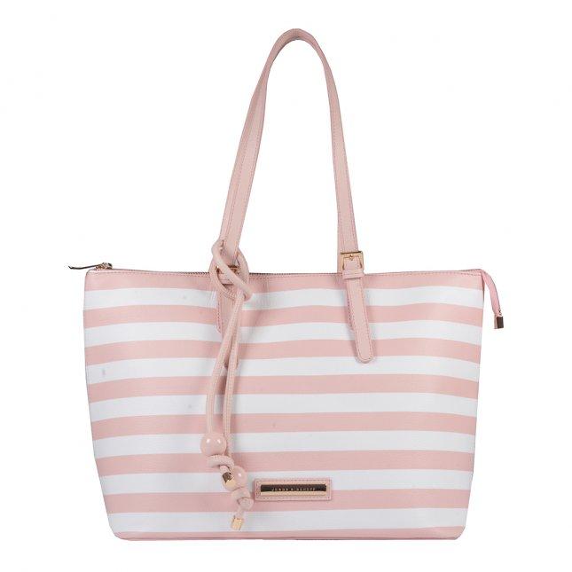 Bolsa Sacola Couro Stripes Pale Pink V20