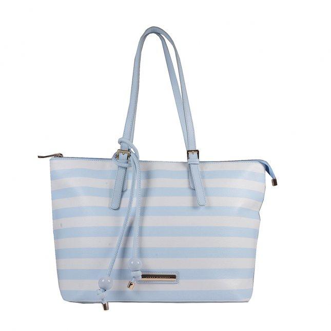 Bolsa Sacola Couro Stripes Pale Blue V20