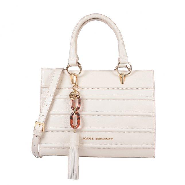 Bolsa Estruturada Couro Off White com Bag Charm V20