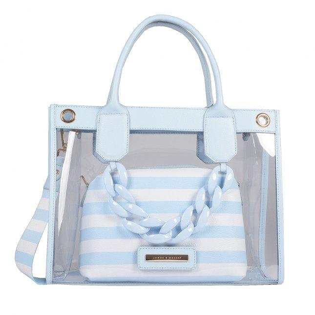 Bolsa Vinil Transparente com Clutch Stripes Pale Blue V20