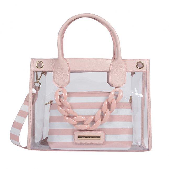 Bolsa Vinil Transparente com Clutch Stripes Pale Pink V20