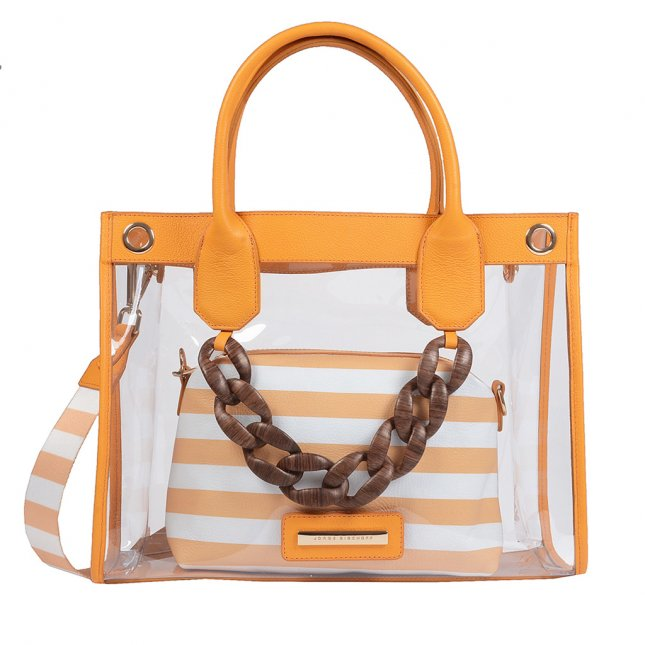 Bolsa Vinil Transparente com Clutch Stripes Sunset V20